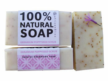 Picture of Soap Bar - Natural - Geranium Poppy Seed Scrub - African Bliss